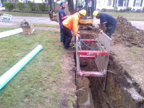 sewer line work