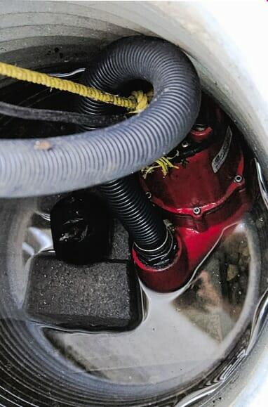 sump pump in basin